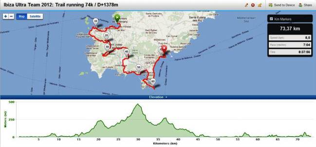 Ibiza Ultra team 2012 Race course and profile  trail running 74k D+1378m