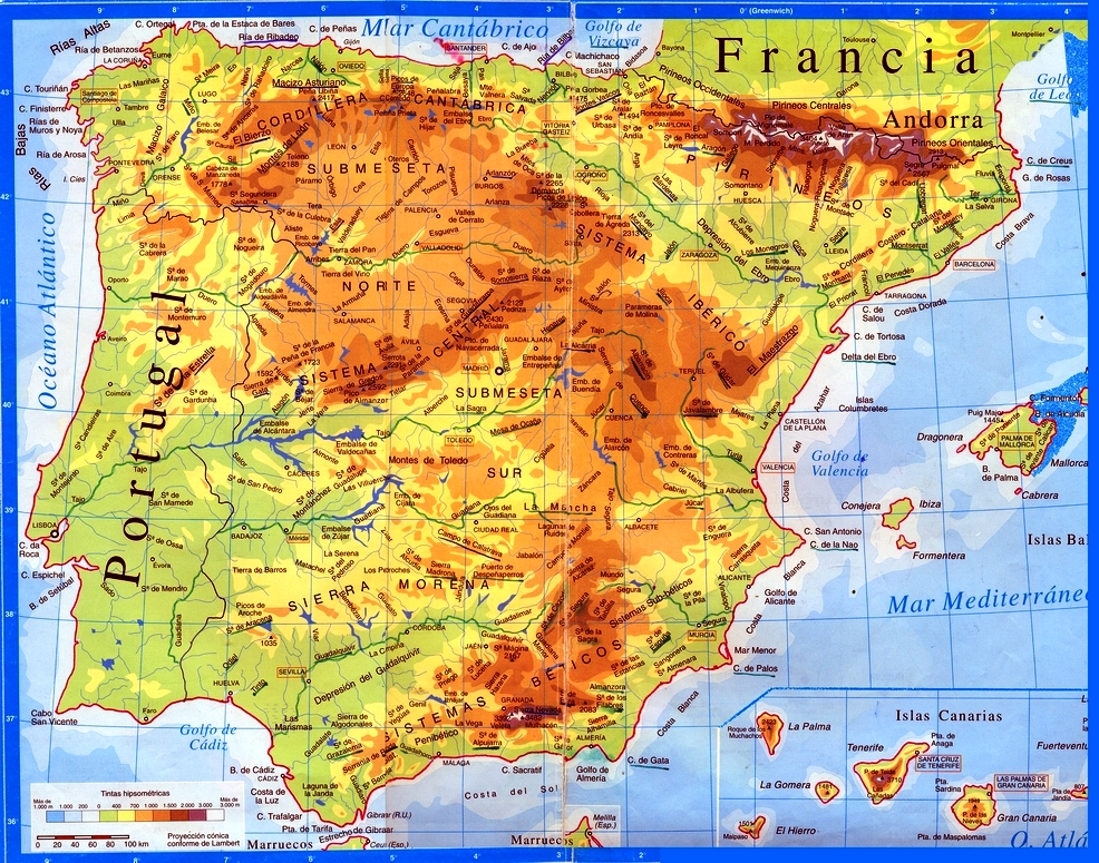 Full Map Of Spain.Spain Mountain Map Trailrunningspain Com