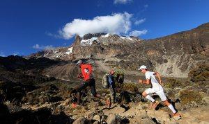 Kilian Jornet during kis Kilimanjaro world speed record.