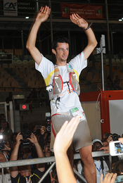 Kilian Jornet as winner at Grand Raid reunion 2012