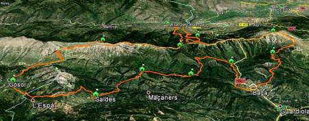 Ultra Pirineu 2013 Map: First year with 100k  course.