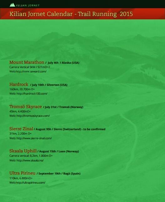Calendario Running.Kilian Jornet Trail Running Calendario 2015