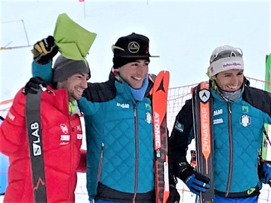 Lenzi, Jornet and Eydallin after corssing the line. Photo: Kilian Jornet FB